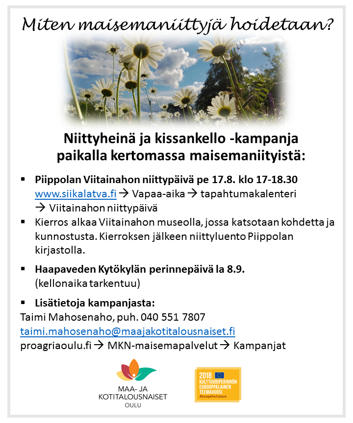 Niittyheinä ja kissankello -kampanja Piippolassa ja Kytökylässä